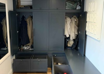Dark Grey/Blue Boot Room Open Doors